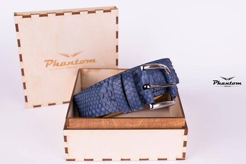 Blue Python Leather Belt