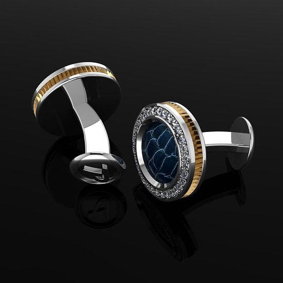 Sterling silver & blue crocodile skin cufflinks