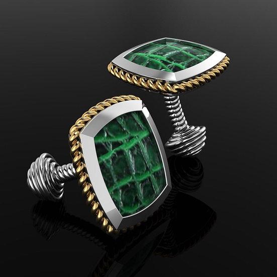 Sterling silver & green crocodile skin cufflinks