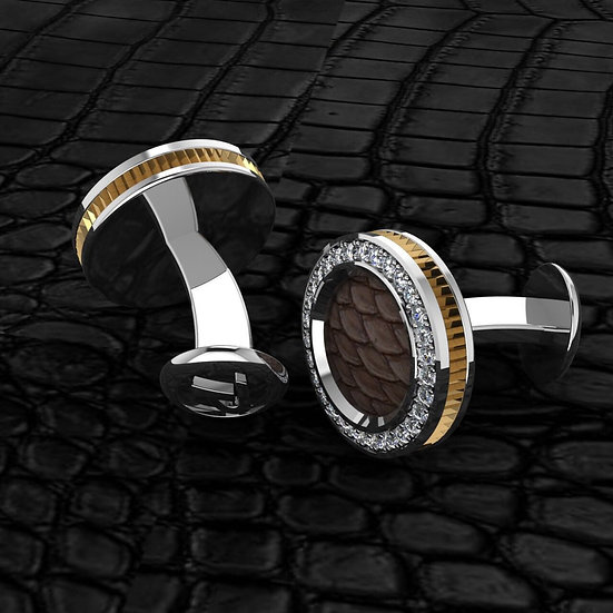Sterling silver & brown python skin cufflinks