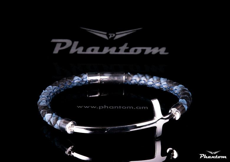 Black and Blue Python Leather Bracelet