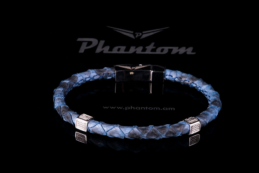 Black & Blue Python Leather Bracelet