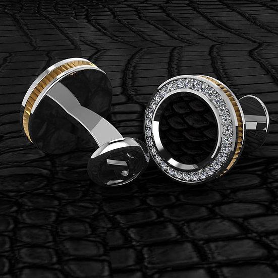 Sterling silver & black python skin cufflinks