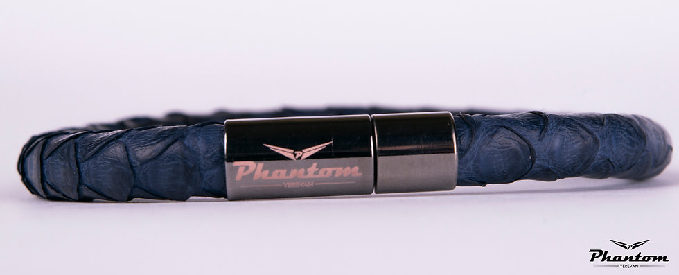 Dark Blue Python Leather Bracelet