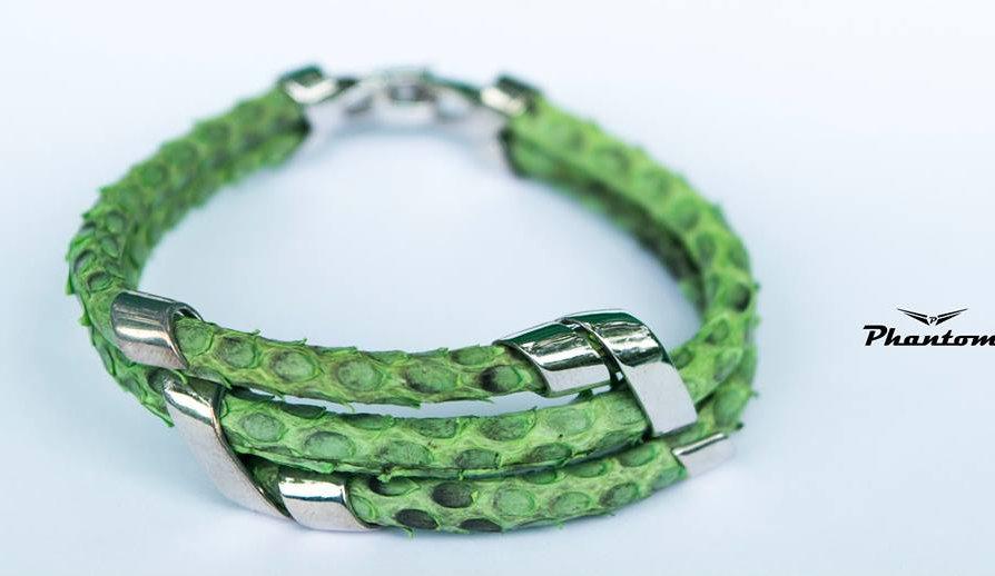 Green Python Leather Bracelet