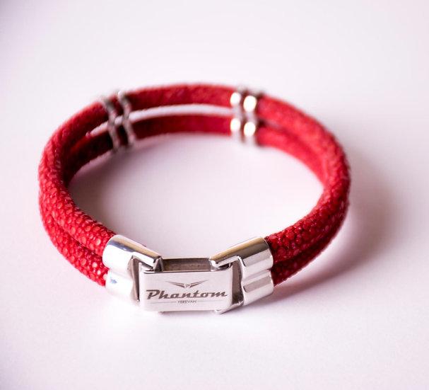 Red Stingray Leather Bracelet