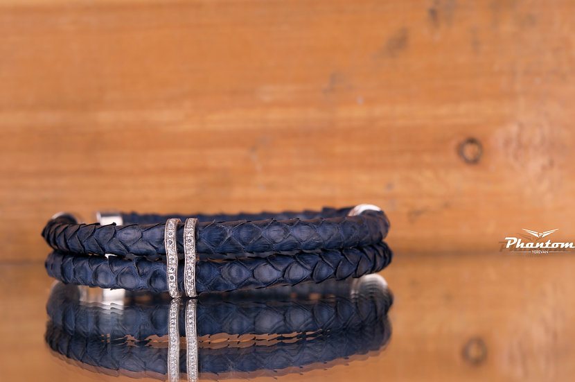Dark Blue Python Leather Bracelet