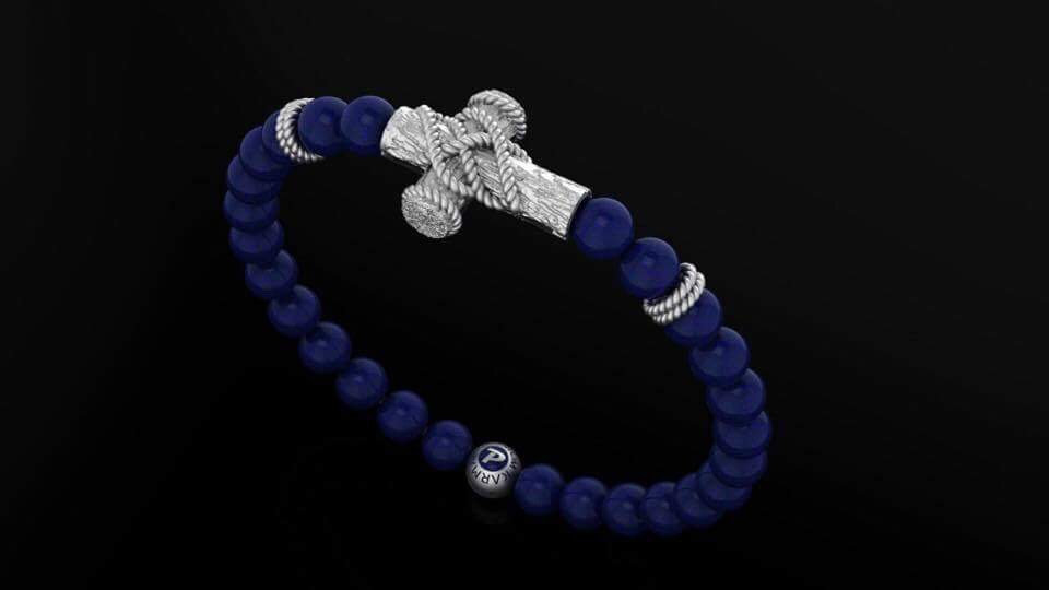 Lazuly & Rope Cross Bracelet