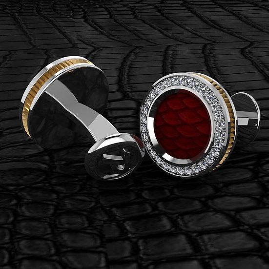 Sterling silver & red python skin cufflinks