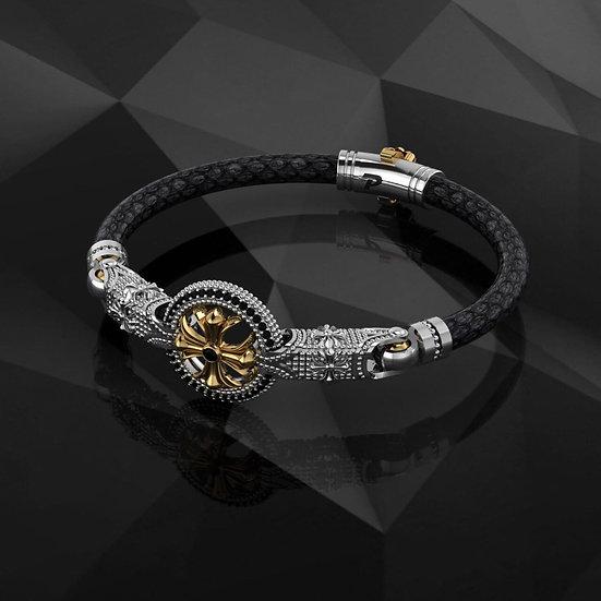 Black Python & Sterling Silver Bracelet
