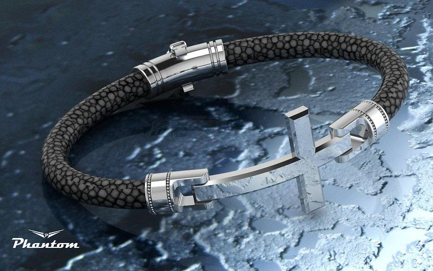 Black Stingray and Sterling Silver Bracelet