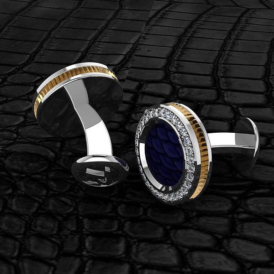 Sterling silver & blue pythin skin cufflinks