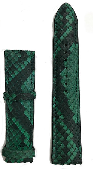 Green &black python leather watch band