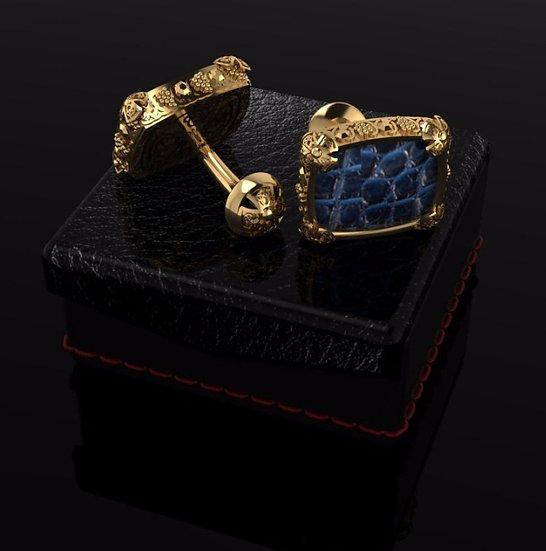 Sterling silver & blue crocodile skin cufflinks