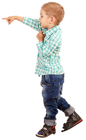 Copy of Boy Pointing in Checkered shirt.
