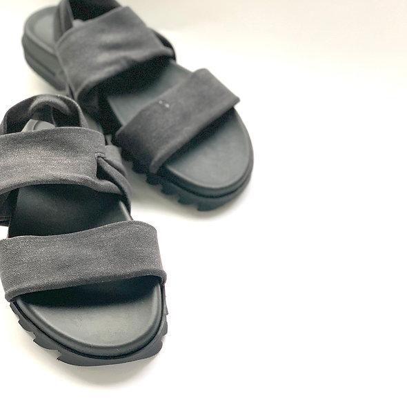 D-ブラック la gomma ビーバンドサンダル【レディース】ソフトな履き心地 日本製 らくちんサンダル