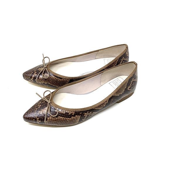 バレエシューズ CLOUDY_ブラウン・スネーク ヘビ柄 おしゃれ 雨の日 セミオーダー ぺたんこ靴