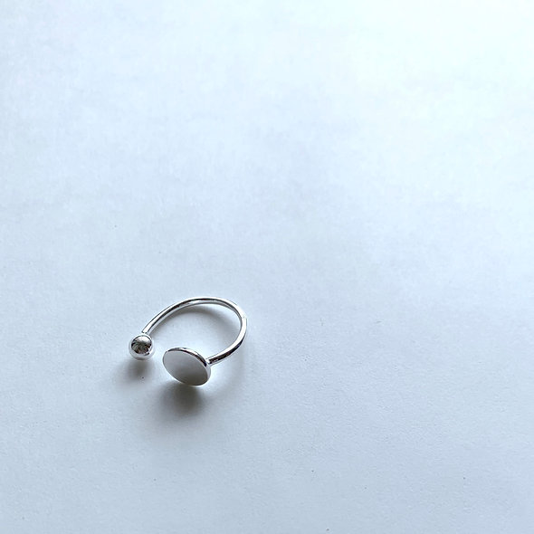Disk ball Ring Silver925_#sp298