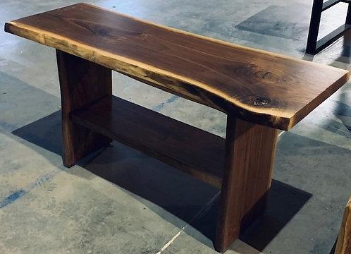 Live Edge Walnut Sofa Table with Shelf
