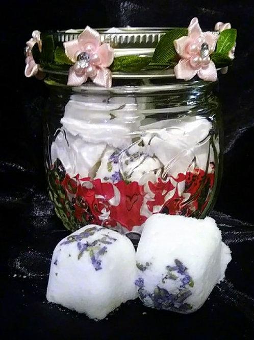Lavender and Lemon Mini Bath Bombs ~ 7 in a jar