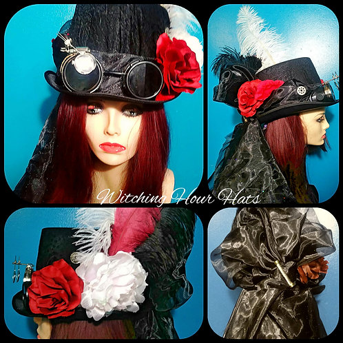 Steampunk Tall Riding Hat with Goggle and Manacle's