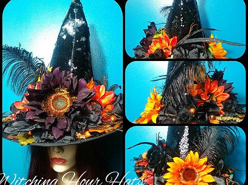 Shimmering Sunflowers Sequined Black Hat