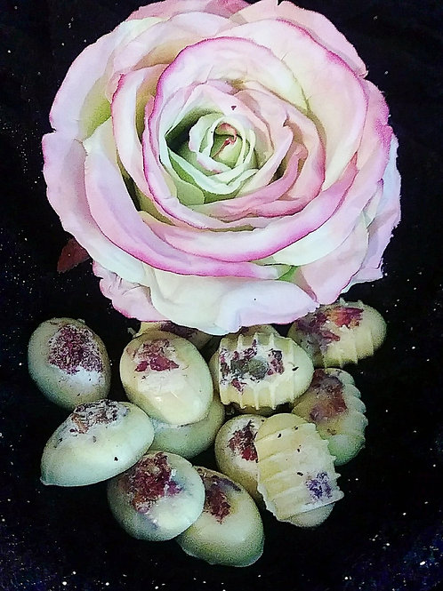 Cocoa Butter and Rose Bath Melts ~ 12 in a decorative bag.