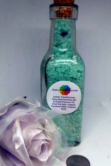 Chakra Clearing Milk Bath 8 ounces with Flourite Crystals