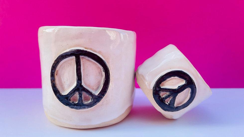PEACE Mug White glaze with black PEACE sign