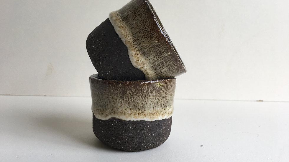 Black Clay White Glaze Espresso Mug