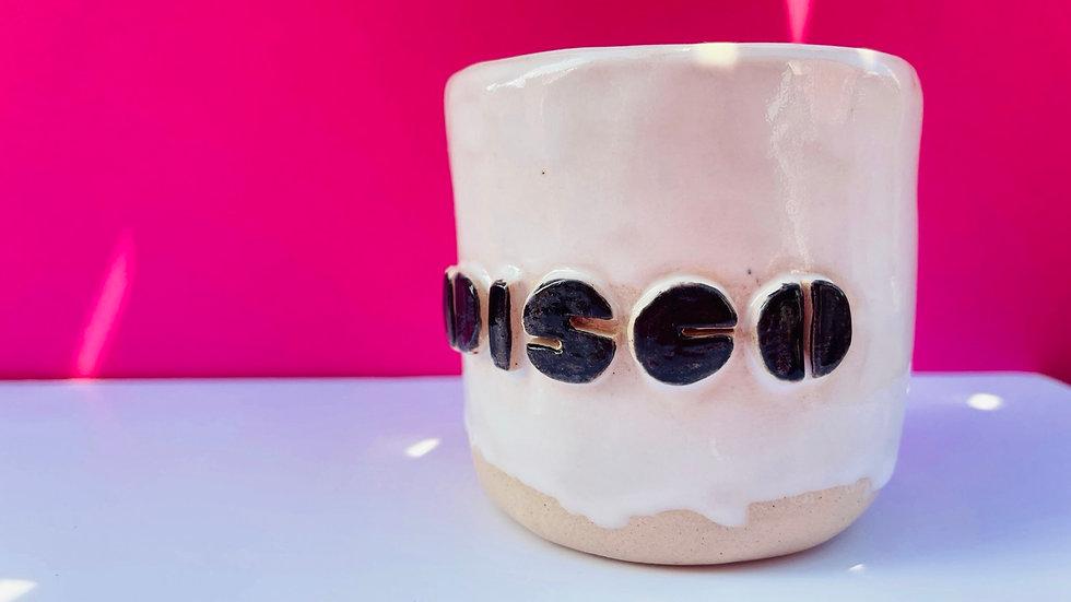 DISCO Mug White glaze Black DISCO writing