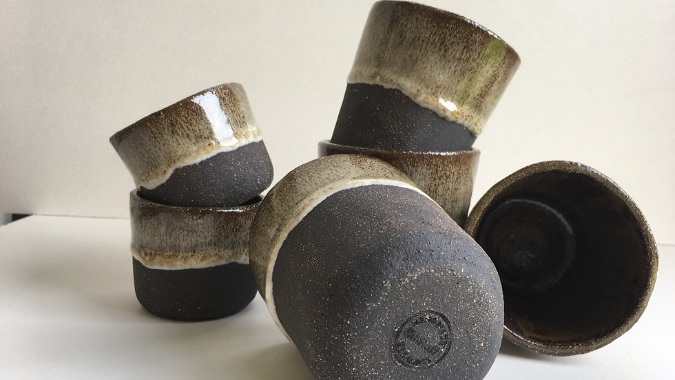Black Clay White Glaze Coffee Mug