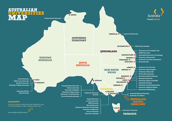 Australian Universities Map