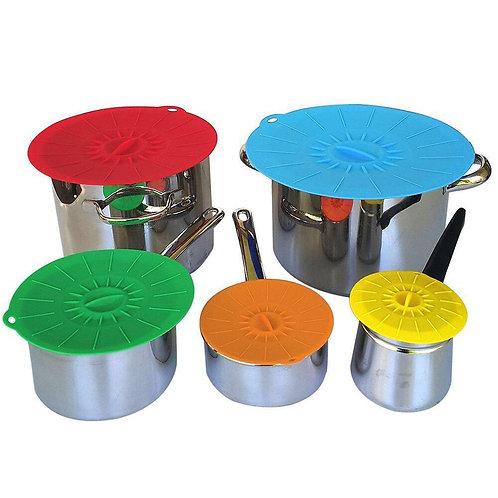Kit de 5 tapaderas para alimentos de silicón.