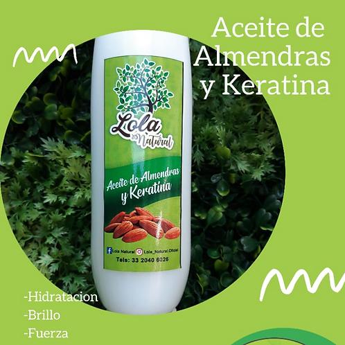 Aceite de almendras y keratina 250 gm.