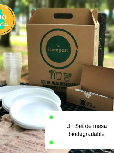 Set de fiesta para 10 personas, biodegradable.