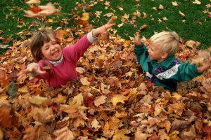 October 1991, Sutton, Vermont, USA --- Two little kids play in Autumn leaves. --- Image by © Joseph Sohm/Visions of America/Corbis