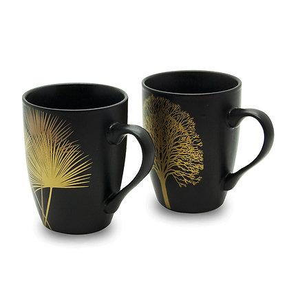 Set 2 Tazze nere con decoro oro