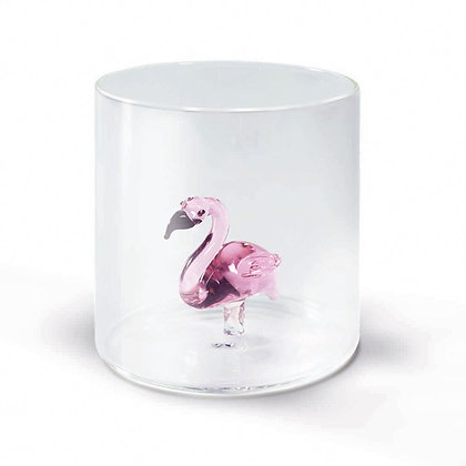 Bicchiere in vetro con soggetto - Fenicottero