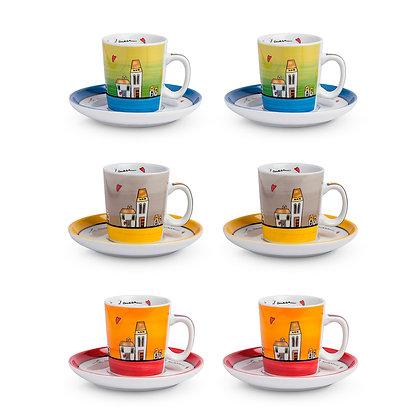 Set 6 tazzine Caffè Le Casette Colorate