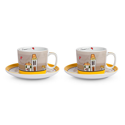 Set 2 tazze Colazione Le Casette Grigio