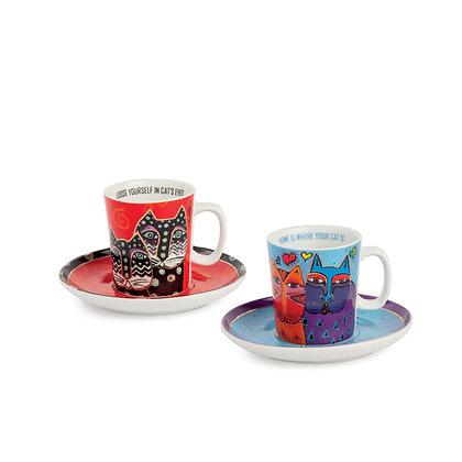 Set 2 tazze caffè Laurel Burch celeste – rosso