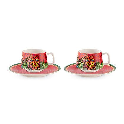 """Set 2 tazze caffè """"Jungle"""" - Rosse"""