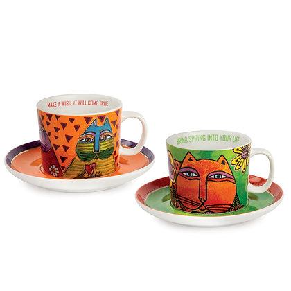 Set 2 tazze cappuccino Laurel Burch verde – arancio