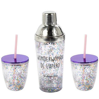 Set Shaker e Bicchieri con Paillettes
