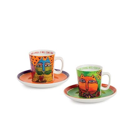 Set 2 tazze caffè Laurel Burch verde – arancio