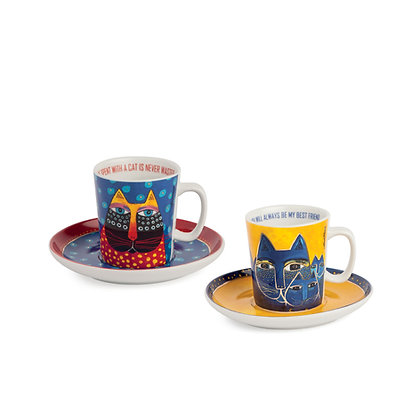 Set 2 tazze caffè Laurel Burch blu – giallo