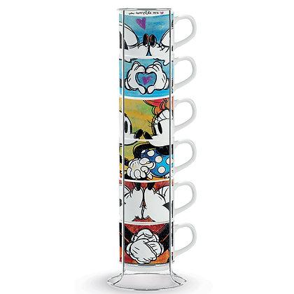 Set 6 Tazzine caffè impilabili - Micky Mouse