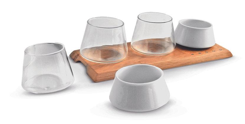 Set Vassoio + 3 Bicchieri + 2 Ciotole