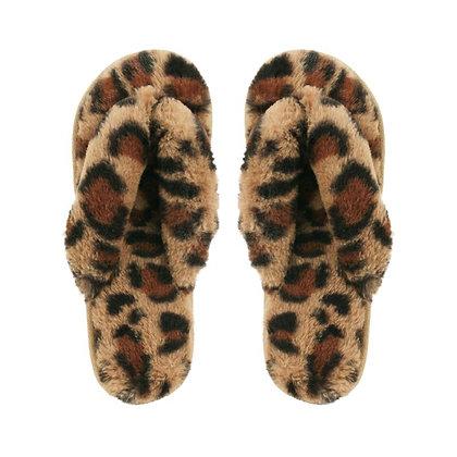 Infradito Leopardate in Pelo